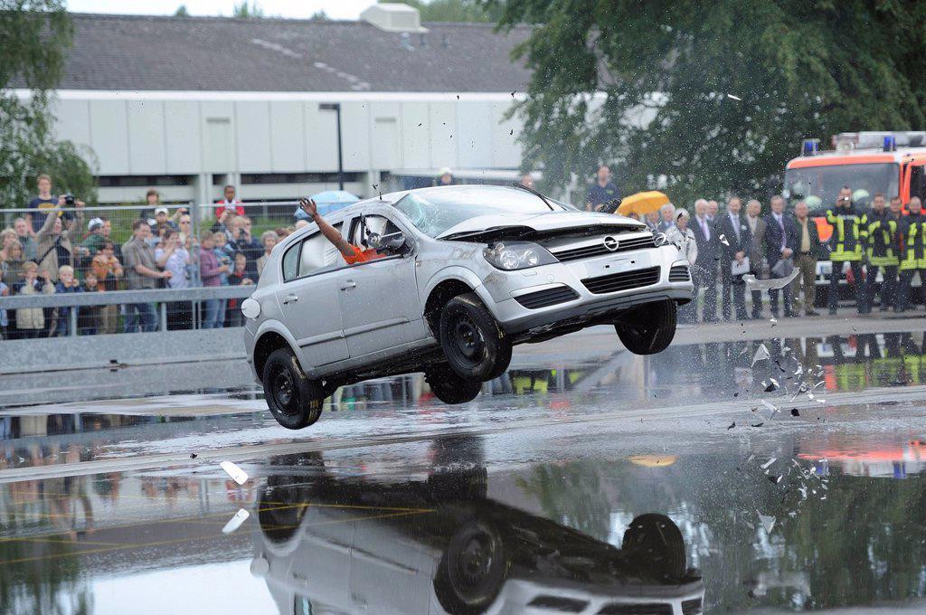 Car rollover test, 60 years of BASt, Bundesanstalt fuer Strassenwesen, Federal Highway Research Institute, during the Road Safety Day celebrations, Bergisch Gladbach, North Rhine_Westphalia, Germany, Europe : Stock Photo
