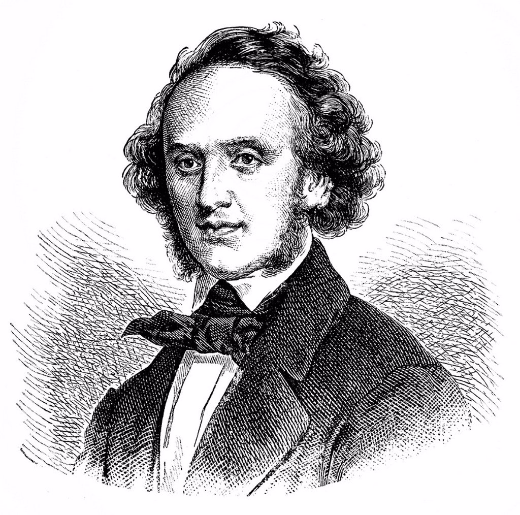 Historical drawing from the 19th Century, portrait of Jakob Ludwig Felix Mendelssohn Bartholdy, 1809_1847, German composer, pianist and organist of Romanticism : Stock Photo