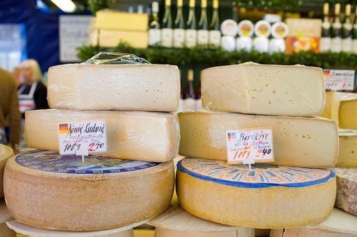 Cheese stall, Viktualienmarkt Market, Munich, Bavaria, Germany : Stock Photo