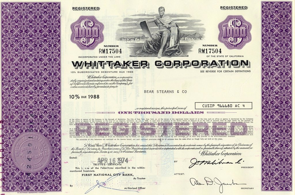 Stock Photo: 1848-682476 Historical share certificate, Whittaker Corporation, 1000 dollars, 1974, California, USA