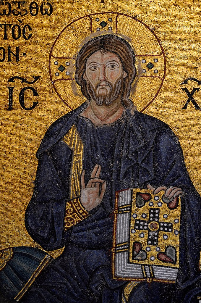 Mosaic, Jesus Christ Pantocrator, Hagia Sophia, Ayasofya, Istanbul, Turkey : Stock Photo