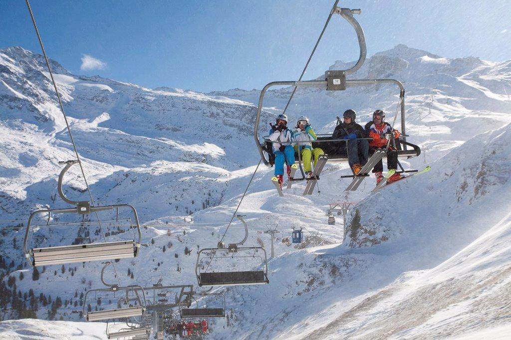 Stock Photo: 1848-682553 Ski lift, Sommerbergalm alp, 2100 m, Hintertux Glacier, Hintertux, Tuxertal valley, Zillertal valley, Tyrol, Austria, Europe