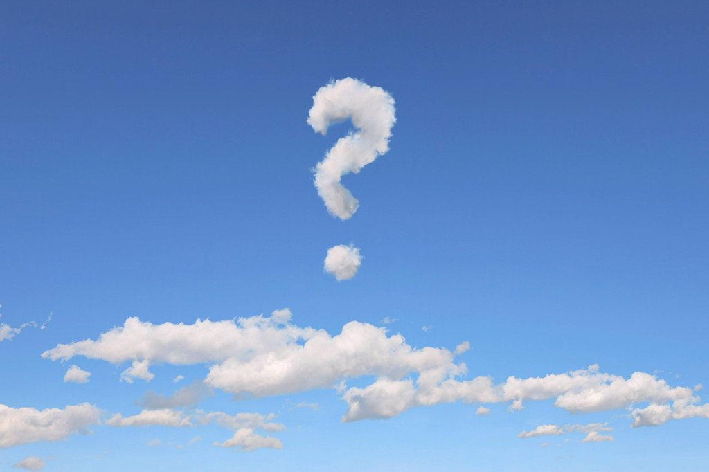 Stock Photo: 1848-682763 Cloud formations in the shape of a question mark, illustration