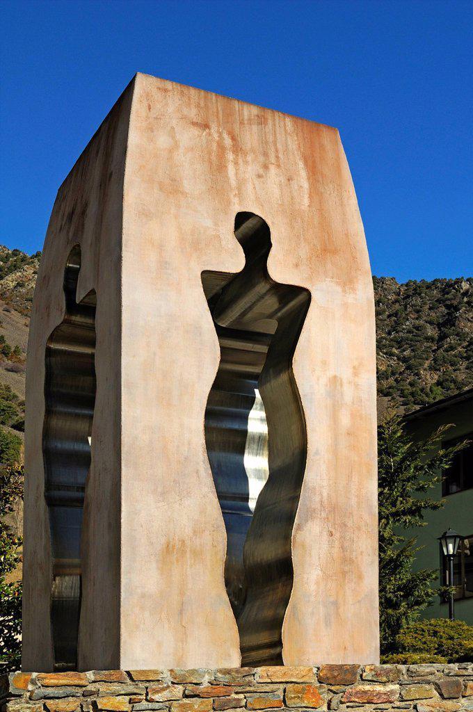 Stock Photo: 1848-682881 Sculpture to commemorate the proclamation of the Constitution of Andorra in 1993, by the artist Emili Armengol, Casa de la Vall, Barri Antic, Andorra La Vella, Andorra, Europe