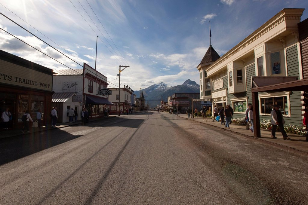Stock Photo: 1848-682934 Historic wooden houses, Broadway, centre of Skagway, Klondike Gold Rush, Alaska, USA