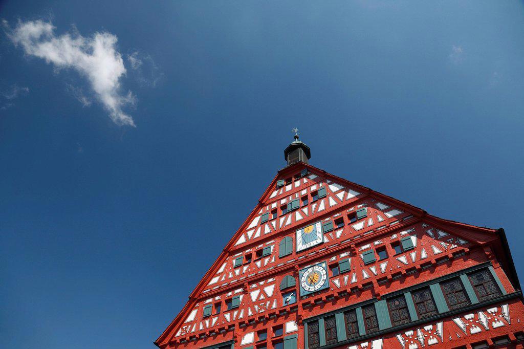 City hall, historic half_timbered building built between 1556 and 1557, Marktplatz square, Grossbottwar, Baden_Wuerttemberg, Germany, Europe : Stock Photo