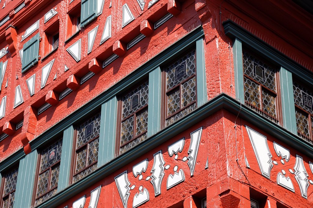 Stock Photo: 1848-683120 City hall, historic half_timbered building built between 1556 and 1557, detailed view, Marktplatz square, Grossbottwar, Baden_Wuerttemberg, Germany, Europe