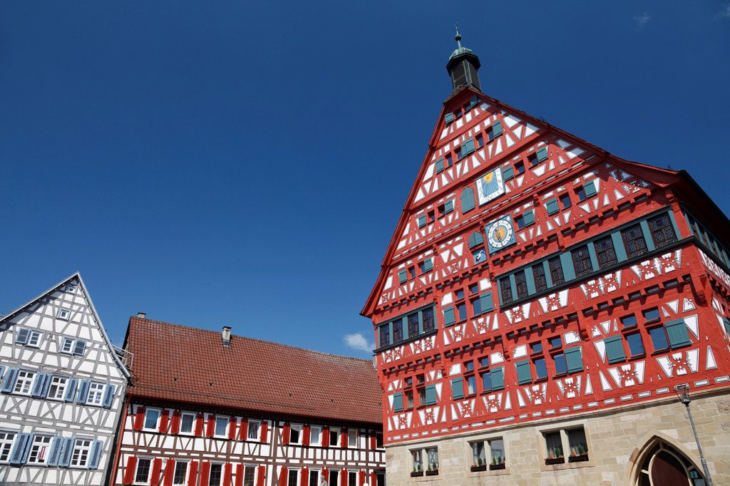 Stock Photo: 1848-683121 City hall, historic half_timbered building built between 1556 and 1557, with surrounding houses, Marktplatz square, Grossbottwar, Baden_Wuerttemberg, Germany, Europe