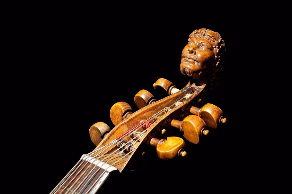Stock Photo: 1848-683547 Carved head of Bacchus on a seven_string tenor bass viol from the 17th century, Haus Kemnade moated castle, Hattingen, North Rhine_Westphalia, Germany, Europe