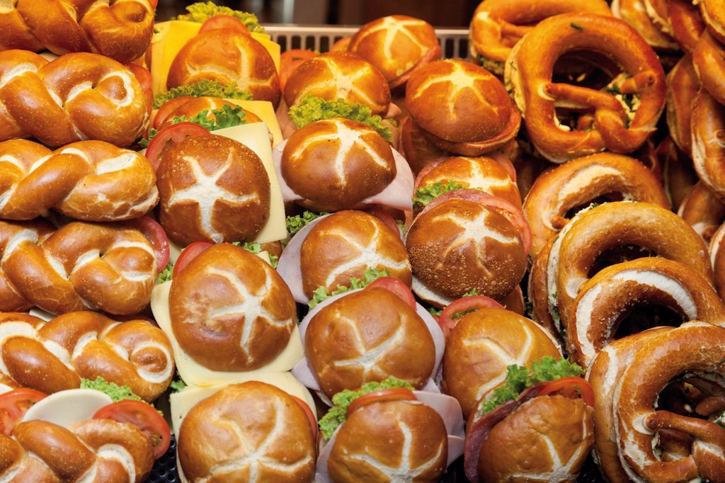 Various pretzel rolls and pretzels in a window display : Stock Photo