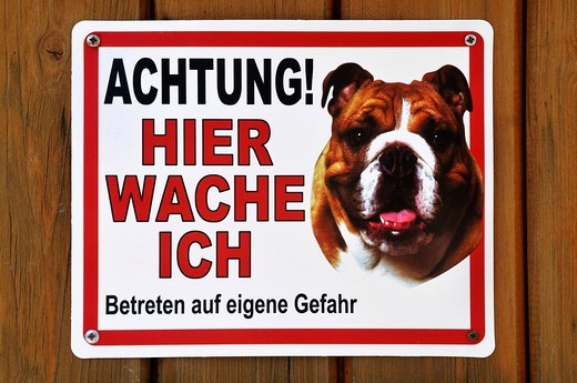 Stock Photo: 1848-68372 Sign, danger! I guard here enter, at your own risk, picture of a Boxer dog