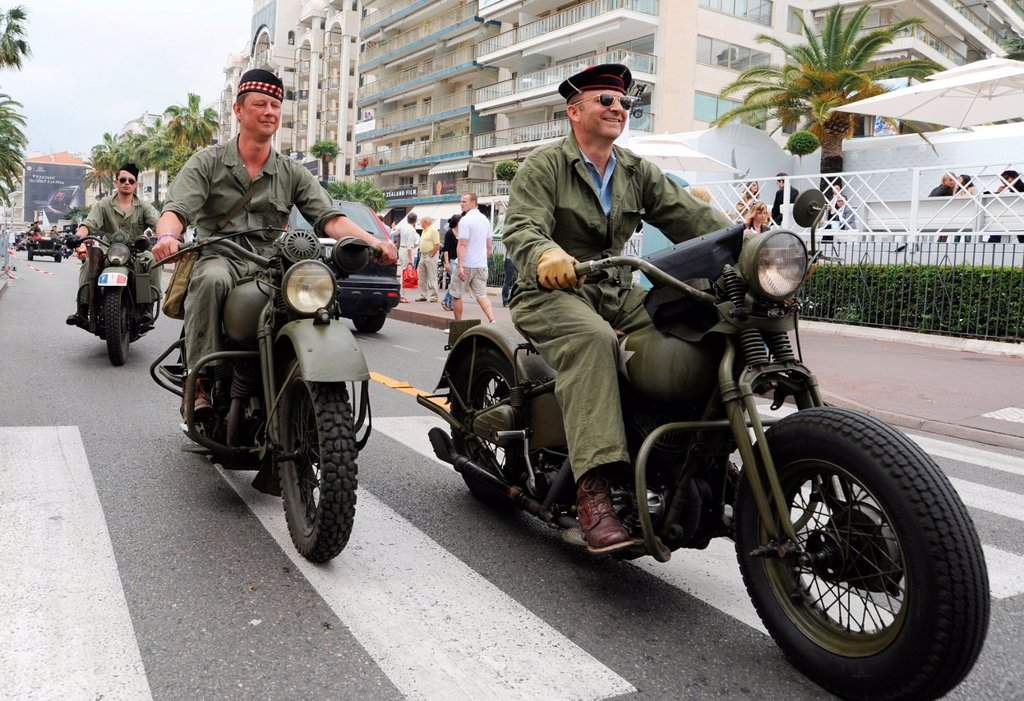 Biker meeting of army fans from France on the Croisette in Cannes, Cote d´Azur, France, Europe : Stock Photo