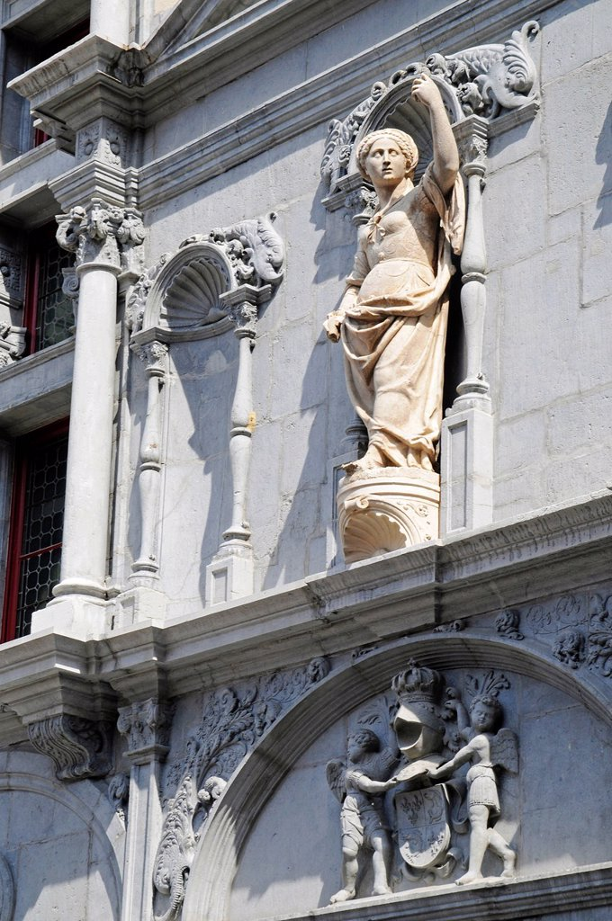 Sculpture, facade, Ancien Palais de Justice palace of justice, Place de Saint Andre, Grenoble, Rhone_Alpes, France, Europe : Stock Photo