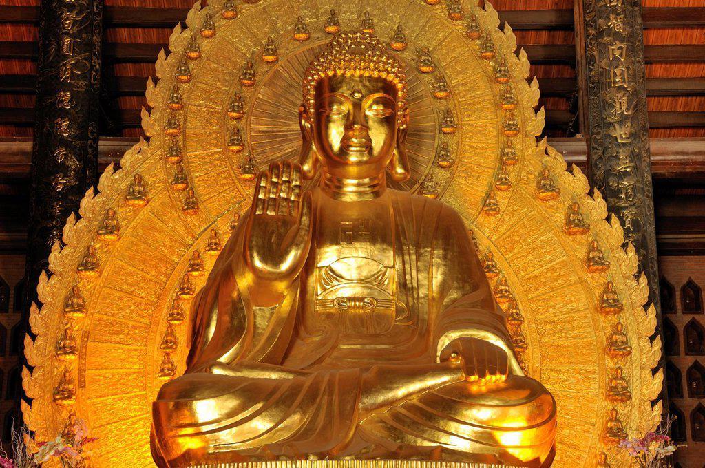 Stock Photo: 1848-683787 Gold_plated Buddha statue, Pagoda Chua Bai Dinh, Ninh Binh, Vietnam, Southeast Asia, Asia