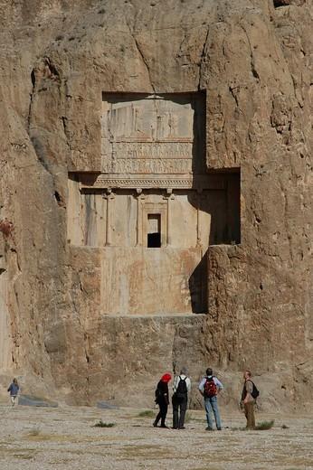 Stock Photo: 1848-68381 Necropoles of Darius I, Darius II, Xerxes I and Artaxerxes I, kings of the Achaemenid dynasty, Naqsh_e Rustam, Iran, Middle East