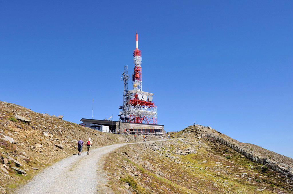 Stock Photo: 1848-683968 Radio tower and summit station on Patscherkofel mountain, 2248 m, Tux Alps, Tyrol, Austria, Europe