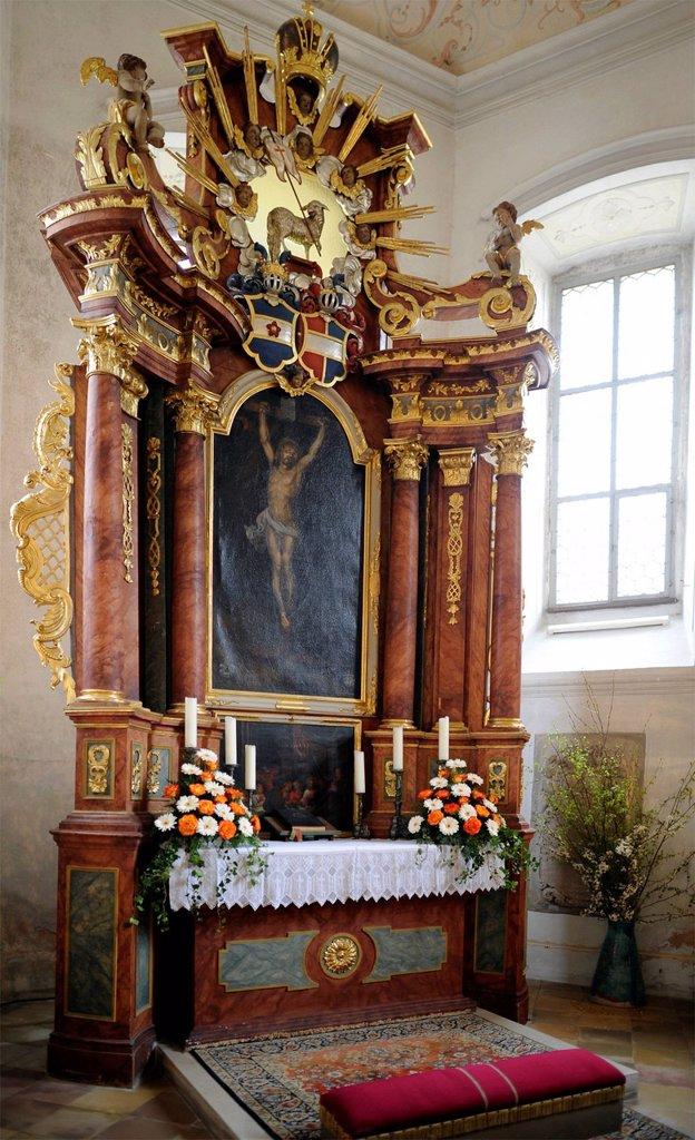 Stock Photo: 1848-684331 Altar in the choir, castle church of Unteraufsess Castle, Aufsess, Upper Franconia, Franconia, Bavaria, Germany, Europe