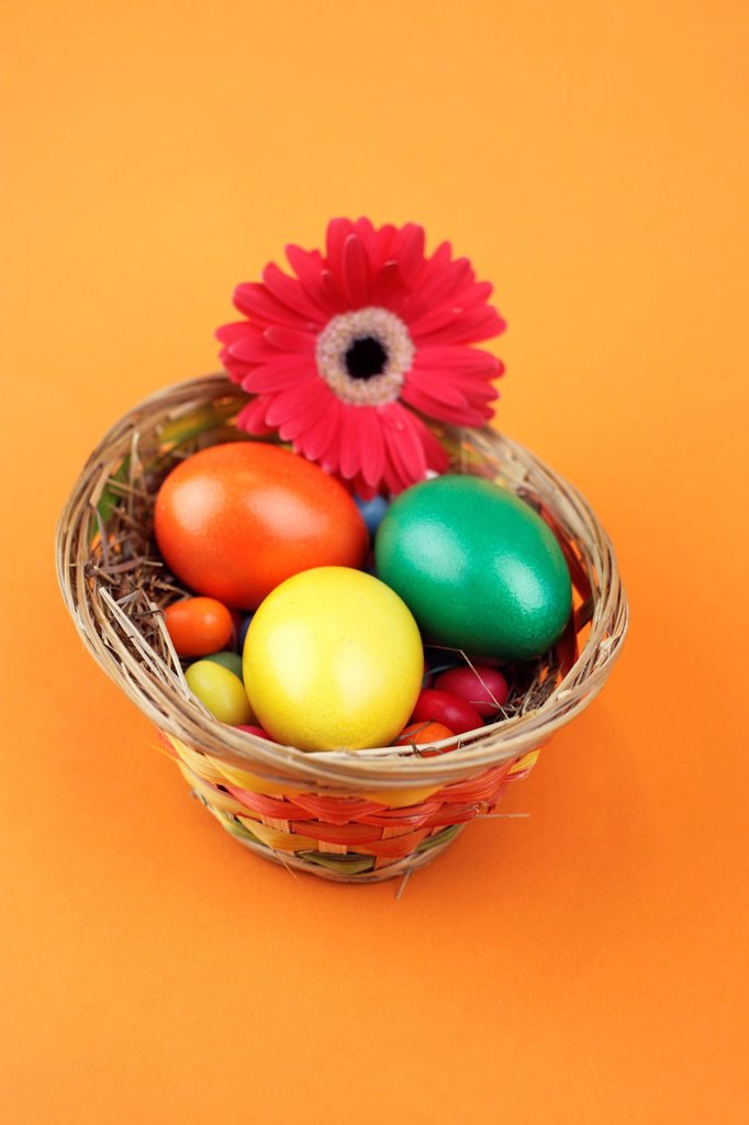 Stock Photo: 1848-684398 Easter basket with colourful shortbread eggs, eggs and a gerbera flower