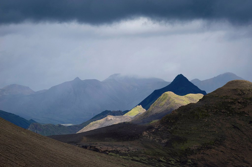 The Mófellshnausar mountains at Emstrur, Laugavegur, Icelandic highlands, Iceland, Europe : Stock Photo