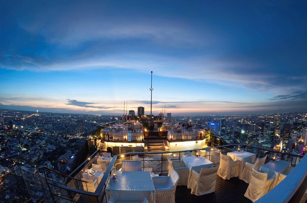 Stock Photo: 1848-684833 View of the city, Vertigo Bar and Restaurant, roof of the Banyan Tree Hotel, at dusk Bangkok, Thailand, Asia