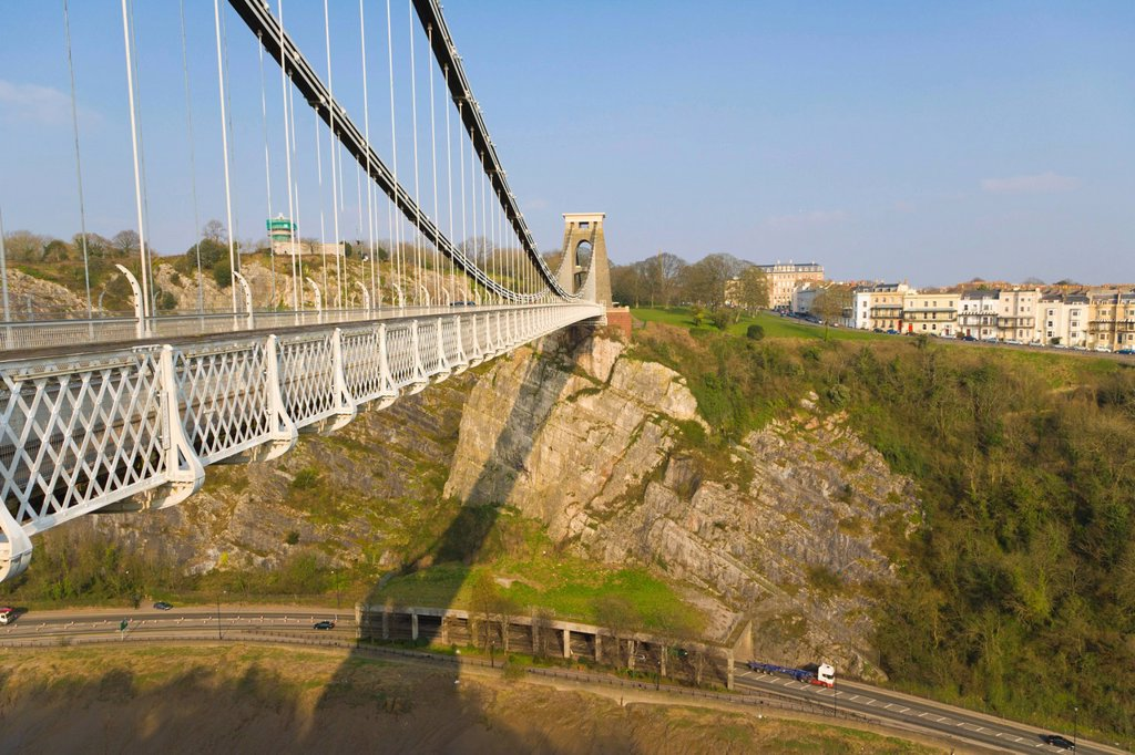 Stock Photo: 1848-684892 The Clifton Suspension Bridge spanning the Avon Gorge by Isambard Kingdom Brunel, Bristol, Gloucestershire, England, United Kingdom, Europe