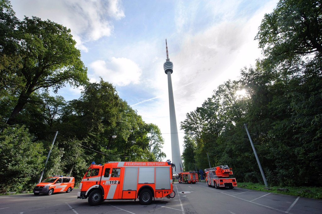 Vehicles of the fire department at the TV tower, Stuttgart, Baden_Wuerttemberg, Germany, Europe : Stock Photo
