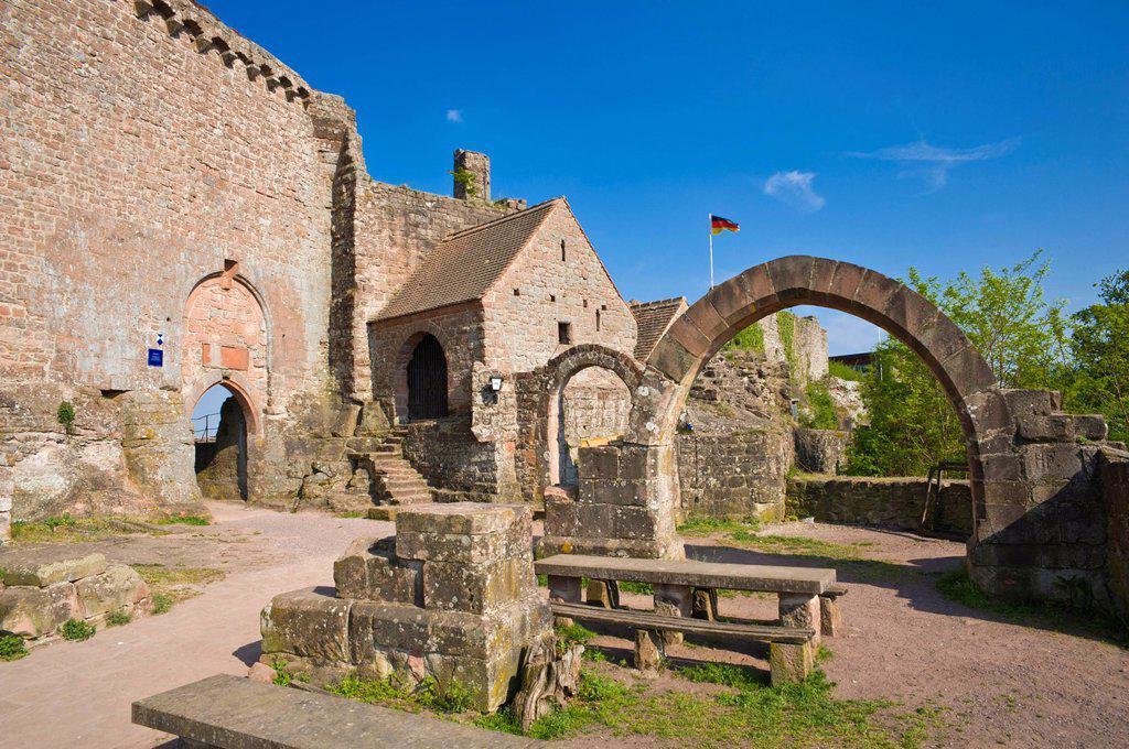 Madenburg castle ruins, Eschbach, German Wine Route, Suedliche Weinstrasse district, Pfalz, Rhineland_Palatinate, Germany, Europe : Stock Photo