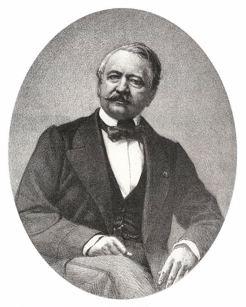 Stock Photo: 1848-685386 Historic lithography from the 19th century, portrait of Ferdinand Marie Vicomte de Lesseps, 1805 _ 1894, a French diplomat and initiator of the Suez Canal