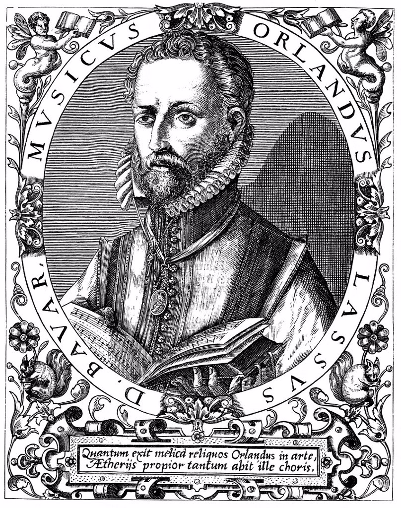 Historic drawing from the 19th century, portrait of Orlandus Lassus, also known as Orlando di Lasso, Orlande or Roland de Lassus, 1532 _ 1594, a High Renaissance composer : Stock Photo