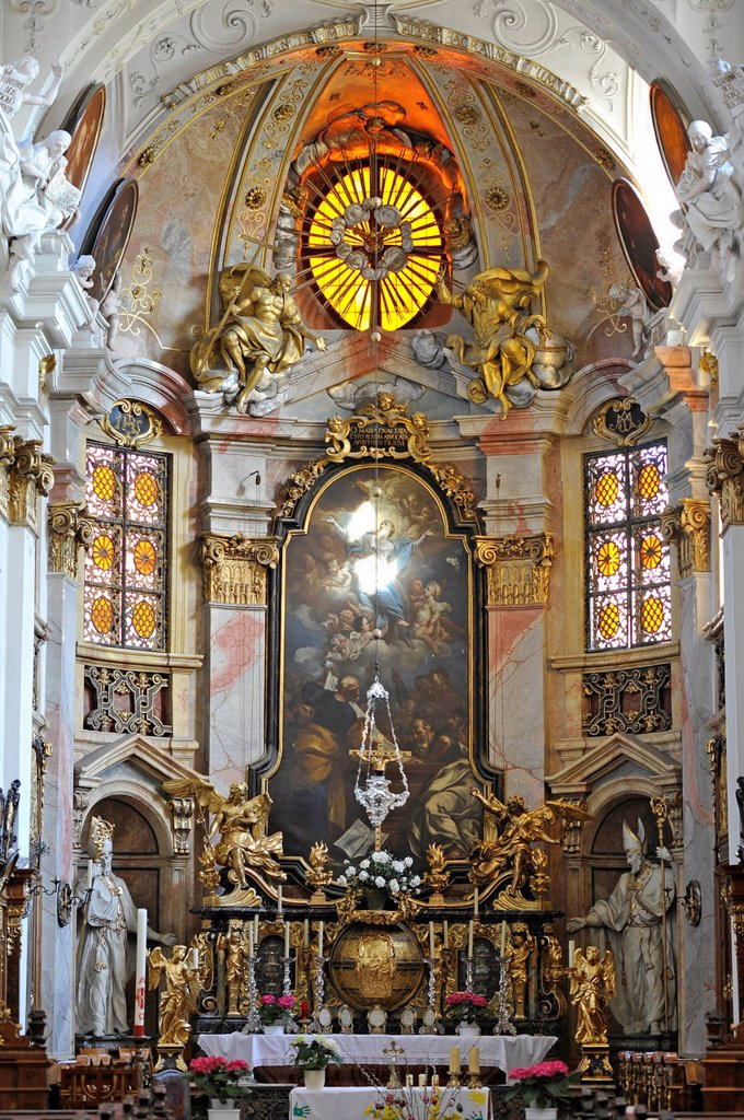 Stock Photo: 1848-685711 High altar with the high altar painting, choir, abbey church, Augustinian monastery, Duernstein Abbey, Wachau Cultural Landscape, a UNESCO World Heritage site, Lower Austria, Austria, Europe