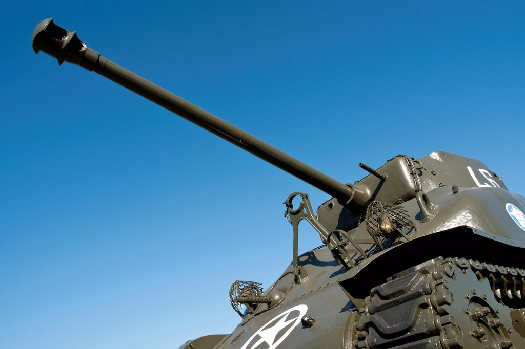 Stock Photo: 1848-685768 American Sherman tank from World War II, Marckolsheim, Alsace, France, Europe