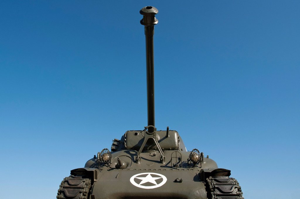 American Sherman tank from World War II, Marckolsheim, Alsace, France, Europe : Stock Photo