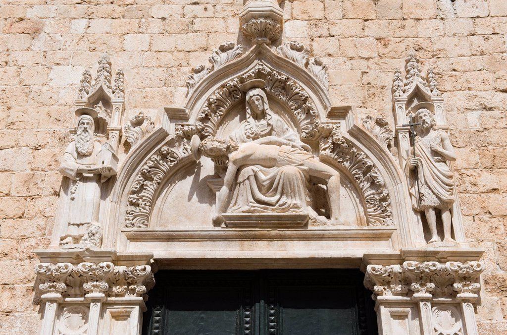 Pieta, relief on facade of St Saviour Church, Dubrovnik, Dalmatia, Croatia, Europe : Stock Photo