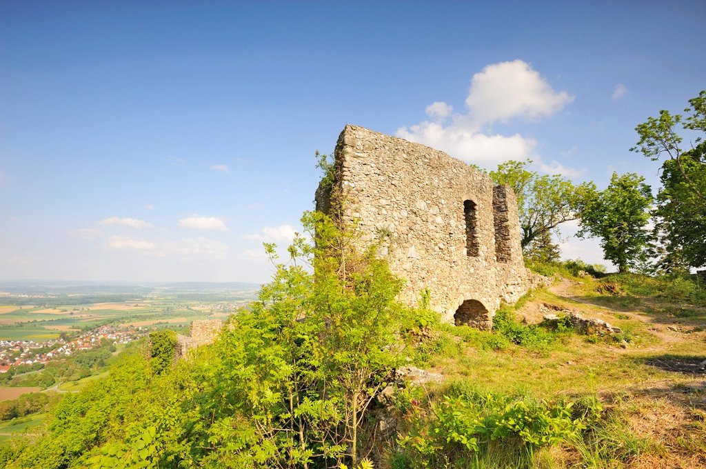 Stock Photo: 1848-686310 Ruins of Burg Maegdeberg Castle in Hegau, Konstanz district, Baden_Wuerttemberg, Germany, Europe