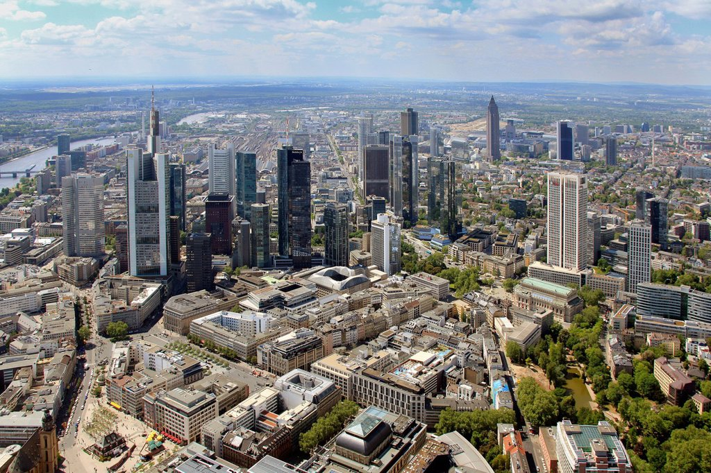 Aerial view, financial district, Frankfurt am Main, Hesse, Germany, Europe : Stock Photo