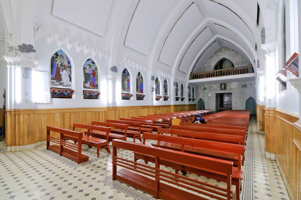 Interior and altar, famous French Church, Nha tho da Sa Pa, Thi tran Sapa, Sapa or Sa Pa, Lao Cai province, northern Vietnam, Vietnam, Southeast Asia, Asia : Stock Photo