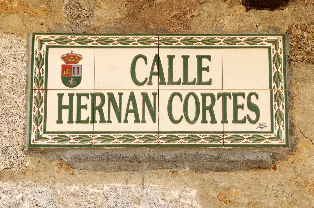 Stock Photo: 1848-686449 Streetsign made of tiles in memorial of Hernan Cortes, conqueror of Mexico, Jarandilla de la Vera, Extremadura, Spain, Europe