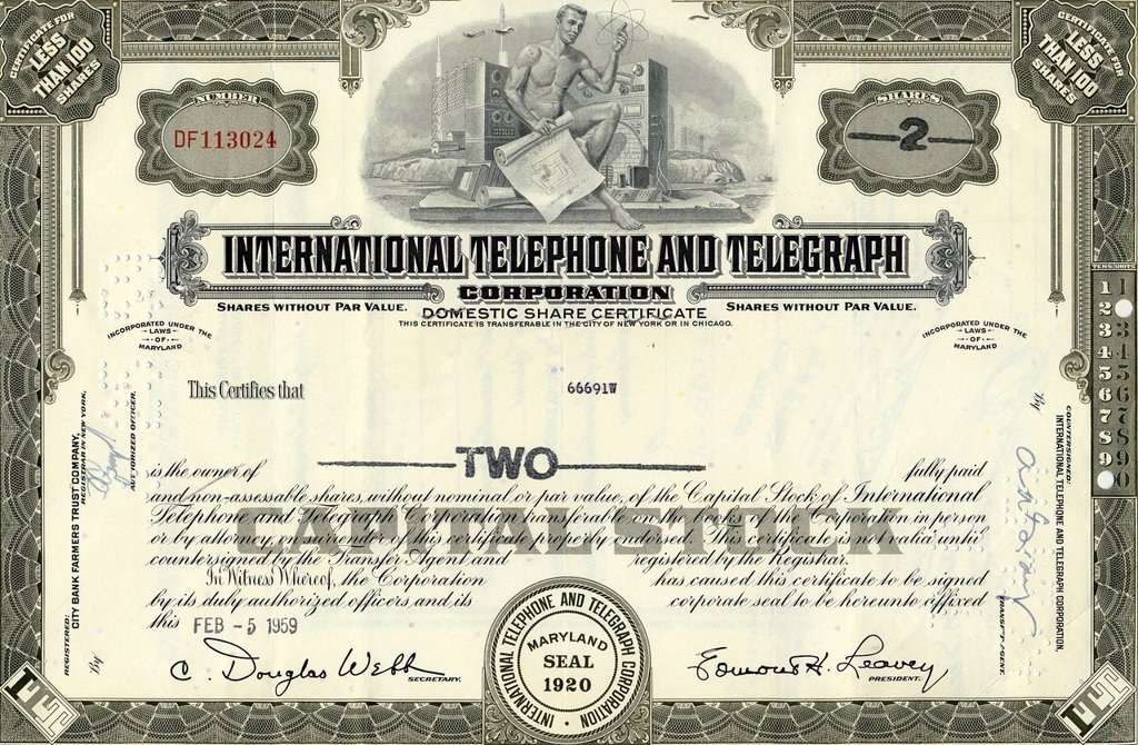 Historical share of International Telephone and Telegraph Corporation, USA, 1959 : Stock Photo