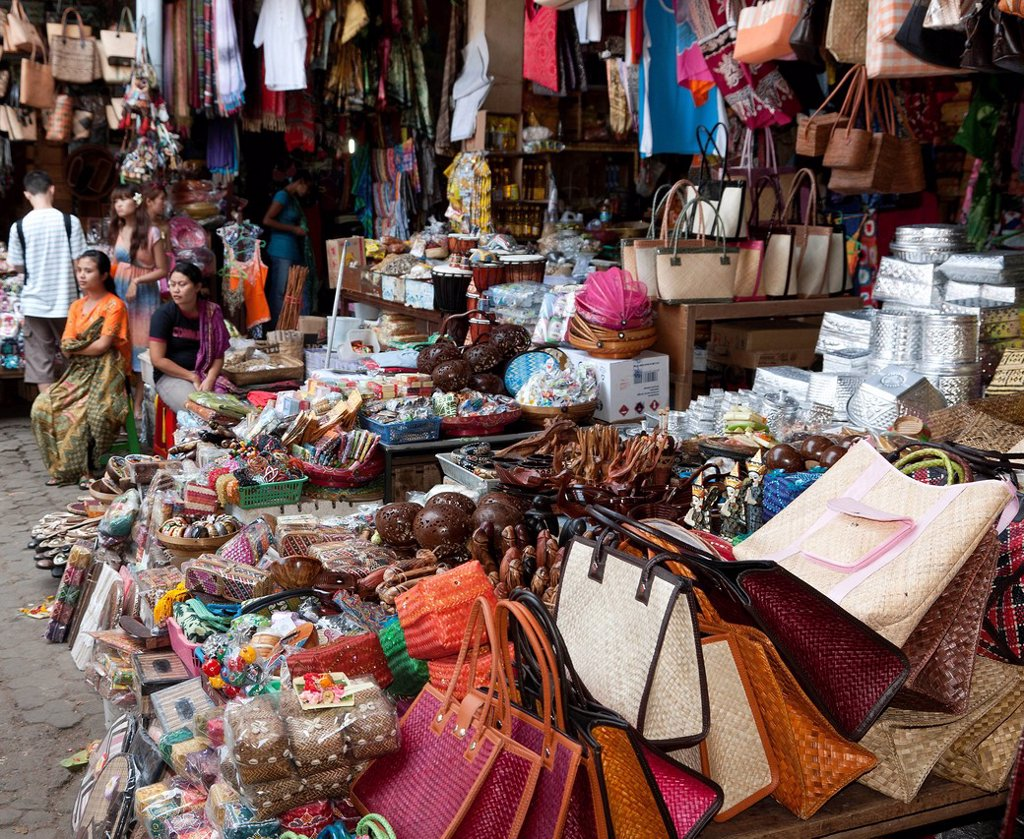 Typical range of goods at a market stall, Ubud, central Bali, Bali, Indonesia, Southeast Asia, Asia : Stock Photo