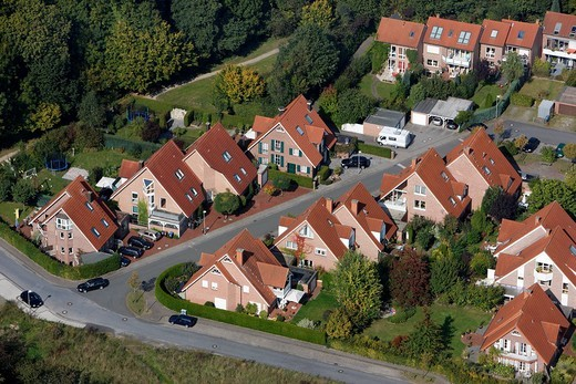 Stock Photo: 1848-68710 One_familiy houses and multi_family houses, estate, Muenster, North Rhine_Westphalia, Germany, Europe