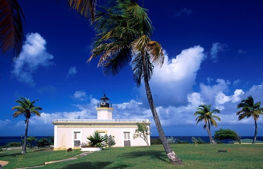 Lighthouse, Faro de Puntas Mulas, Vieques Island, Puerto Rico, Caribbean : Stock Photo