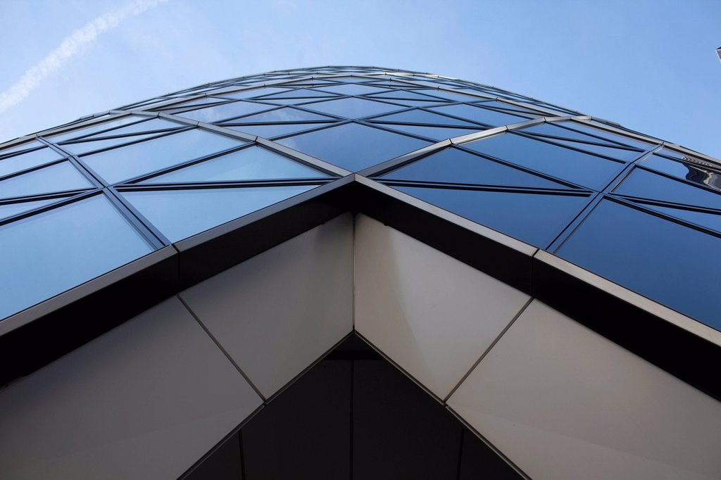 Stock Photo: 1848-687402 30 St Mary Axe, Swiss Re Building or The Gherkin, London, England, United Kingdom, Europe