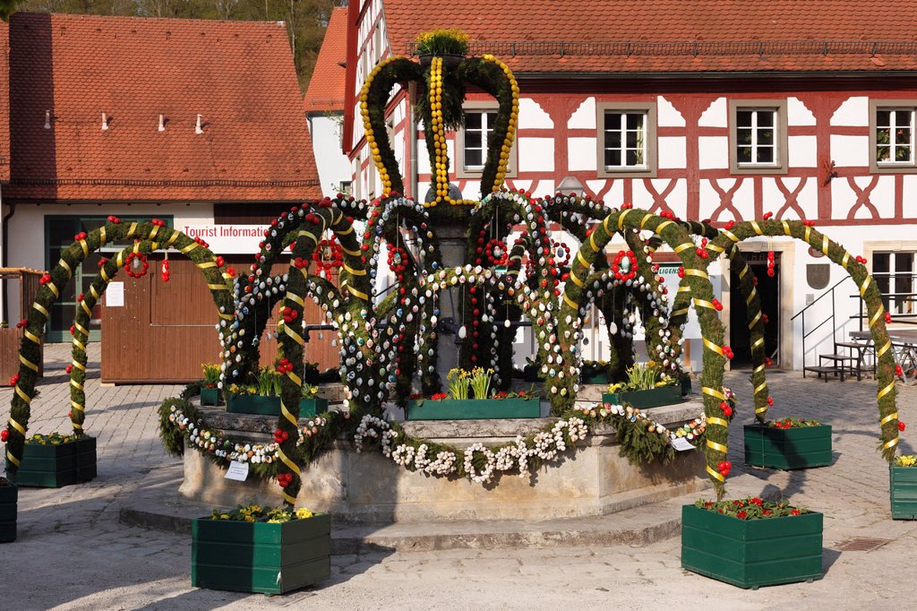 Easter fountain, Heiligenstadt, Franconian Switzerland, Upper Franconia, Franconia, Bavaria, Germany, Europe : Stock Photo