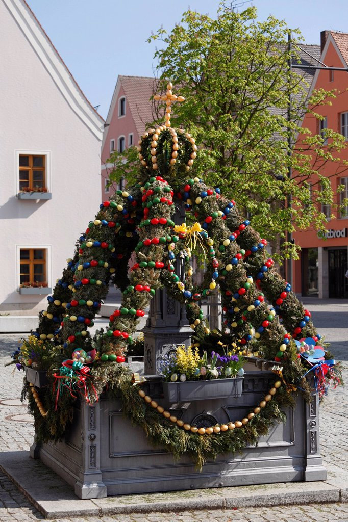 Easter fountain, Freystadt, Upper Palatinate, Bavaria, Germany, Europe : Stock Photo