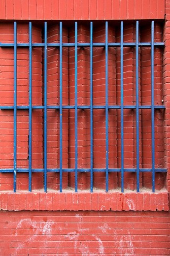 Stock Photo: 1848-68761 Blue bars on a red brick building, Seville, Andalusia, Spain, Europe