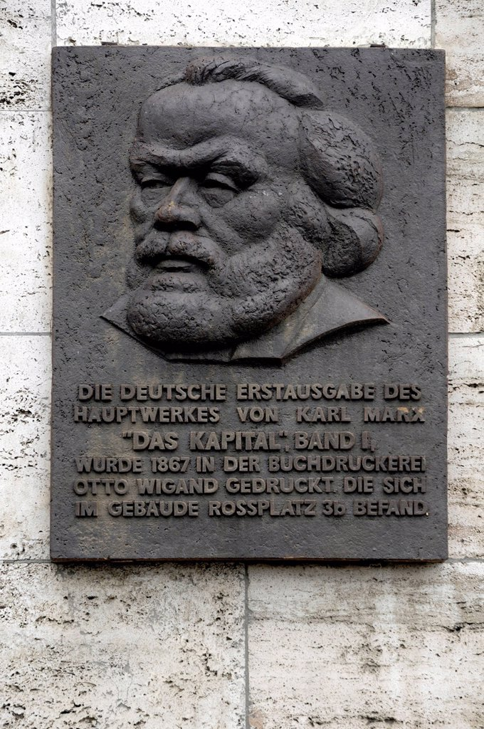 Stock Photo: 1848-687624 Plaque commemorating the first edition of The Capital, Volume I by Karl Marx, Rossplatz, Leipzig, Saxony, Germany, Europe