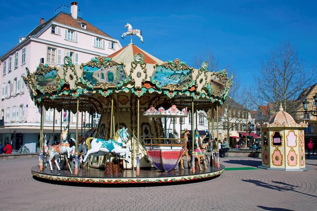 Stock Photo: 1848-687686 Historical roundabout or carrousel for kids, Haguenau, Alsace, France, Europe
