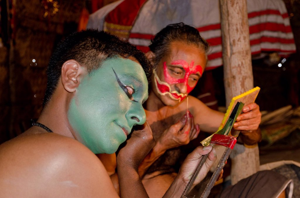 Stock Photo: 1848-687861 The make_up of the Kathakali character Kathalastri is being applied, Perattil, Kerala, India, Asia