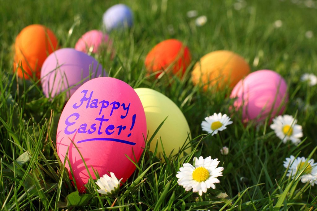 Colourful Easter eggs, one labelled Happy Easter, on a meadow : Stock Photo
