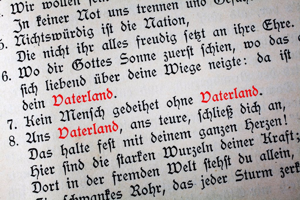 Stock Photo: 1848-688152 Old German text in Gothic letters with the word Vaterland